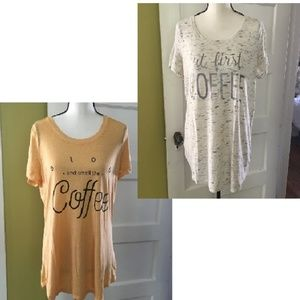 Two COFFEE Graphic Tees T Shirts size LARGE